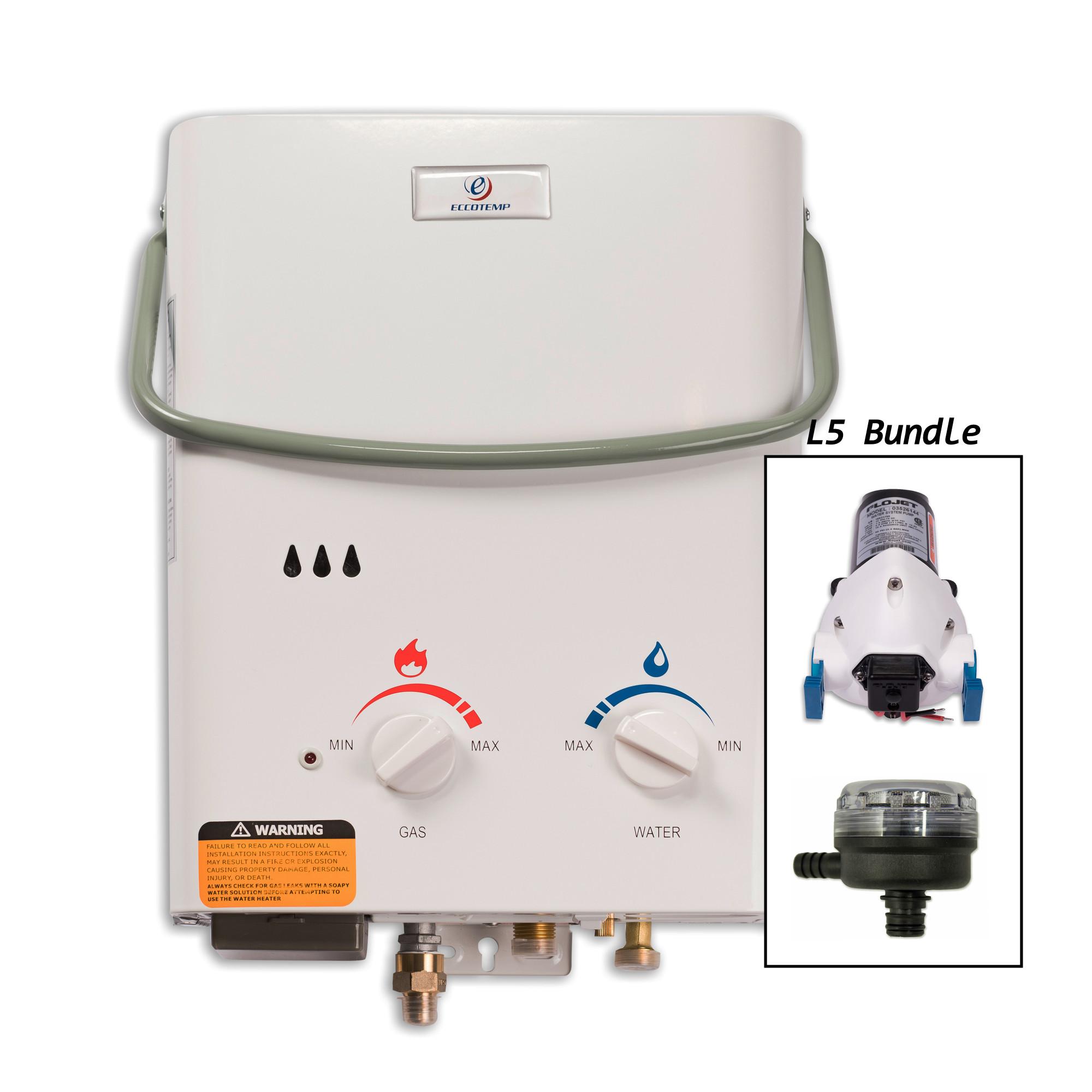Eccotemp L5-PS 1.5 Gallon 11 Kilowatt Portable Liquid Propane Tankless Water Hea