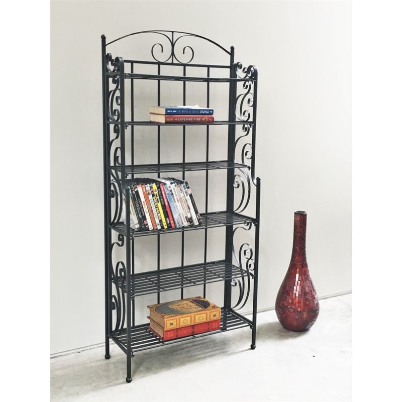 International Caravan 6 Shelf Large Iron CD DVD Storage Rack in Black