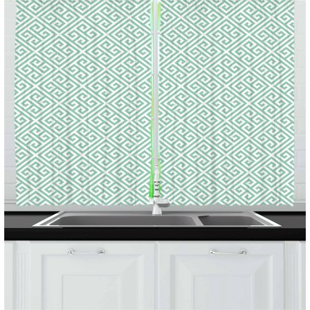 Greek Key Curtains 2 Panels Set, Pastel Green and White Symmetrical Motifs Inspired by Grecian Culture, Window Drapes for Living Room Bedroom, 55W X 39L Inches, Pistachio Green White, by Ambesonne