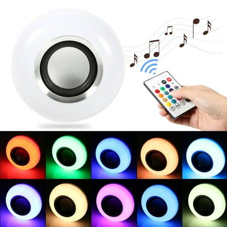 Ashata E27 12W LED RGB Bluetooth Speaker Bulb Wireless Music Playing Light Lamp With Remote Control ,Led Music Lamp, Led Bluetooth Speaker ()