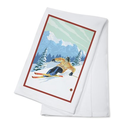 Downhill Skier - Green Sky - Lantern Press Poster (100% Cotton Kitchen Towel)