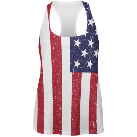 4Th Of July American Flag Distressed All Over Womens Work Out Tank Top