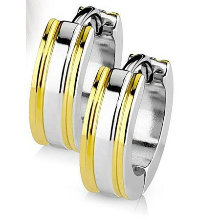 14MM Hoop Earrings Surgical Stainless Steel 2 Tone Hinged Hoop Earrings with Coffee IP Edges Rhodium Plated Earrings For Men Women Huggie Hypoallergenic Hoop Earrings (Yellow Gold)