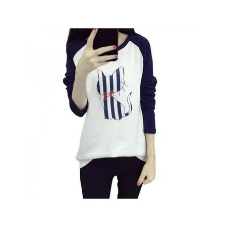 Women Spring Autumn Long Sleeve Round Neck T-Shirt Cartoon Animal Printed Loose Casual Top Shirt Clearance Sale