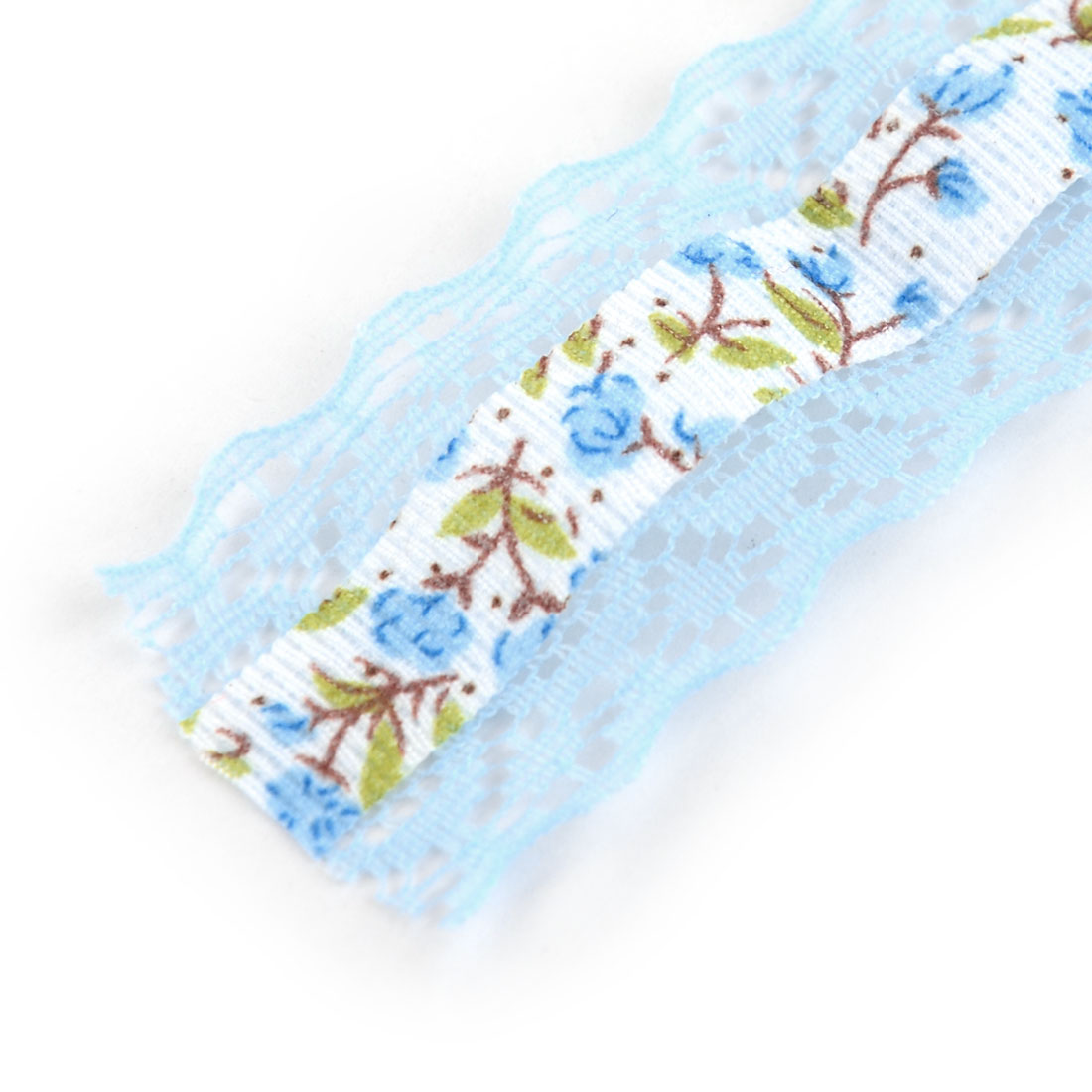 Household Wedding Lace Floral Pattern Decorative Crafting Ribbon Roll Light Blue - image 2 of 4