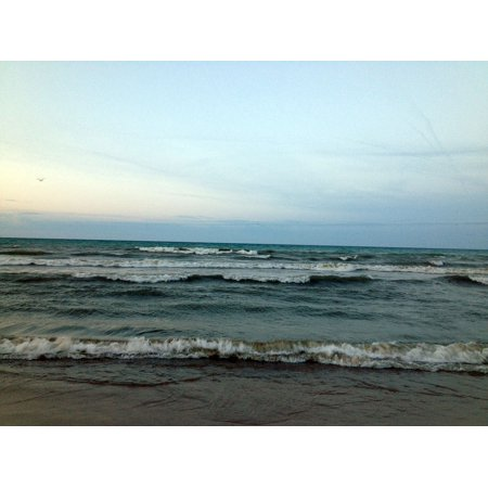 Canvas Print Waves Seascape Lake Michigan Landscape Beach Sky Stretched Canvas 10 x 14 - Lake Michigan Waves Halloween