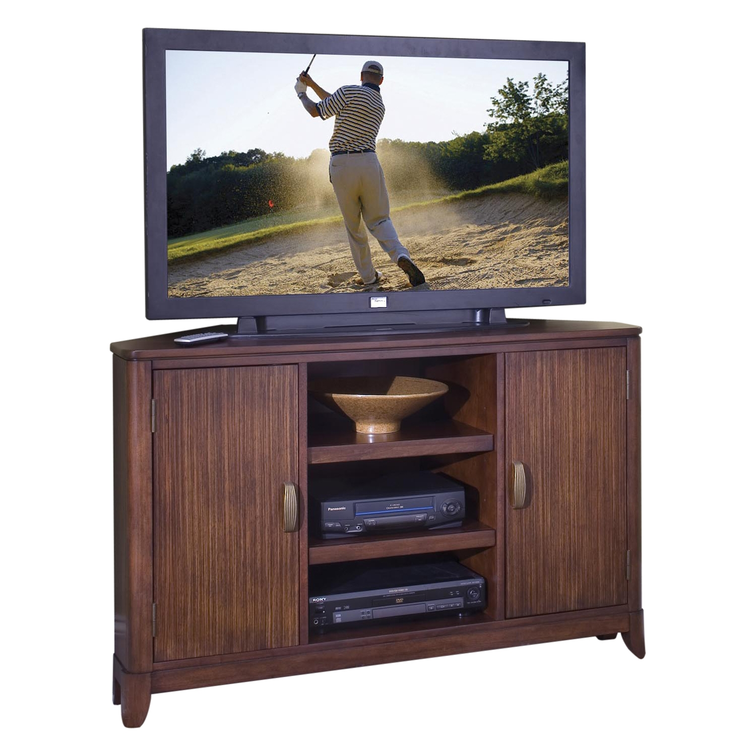 Home Styles Paris Corner Entertainment TV Stand - Mahogany Finish
