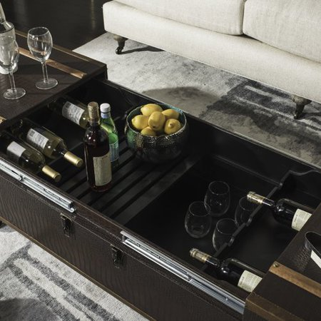 World Menagerie Hassan Coffee Table Storage Trunk With Wine Rack