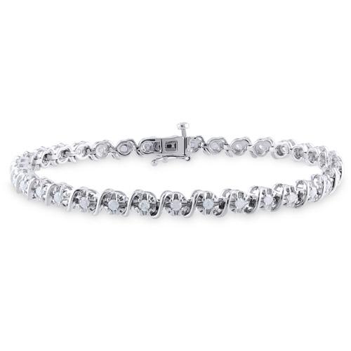 """Miabella 1 Carat T.W. Diamond Sterling Silver Tennis Bracelet, 7.25"""" by Generic"""