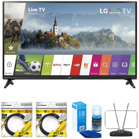 LG 55-inch Full HD Smart TV 2017 Model (55LJ5500) with 2x 6ft High Speed  HDMI Cable Black, Universal Screen Cleaner for LED TVs & Durable HDTV and  FM