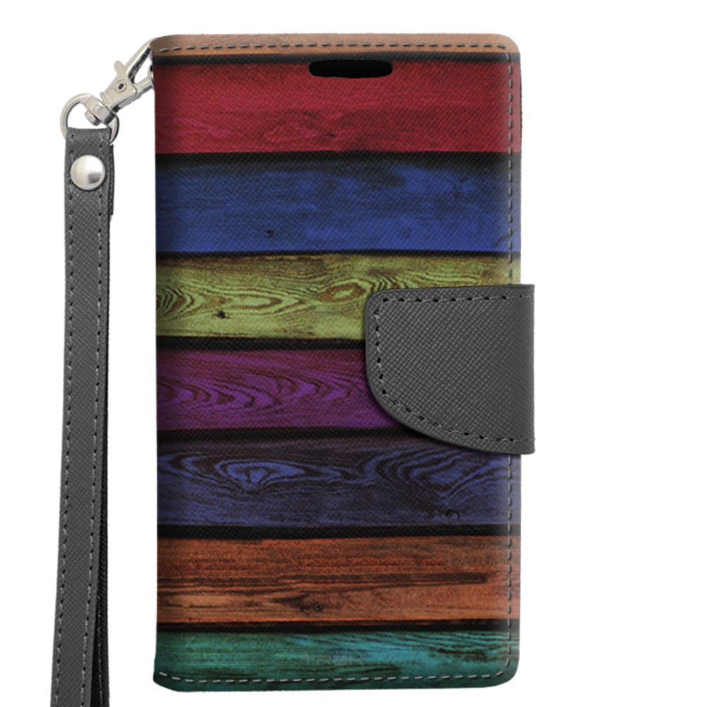 Alcatel OneTouch Pop Astro Wallet Case - Colorful Playground Wood Steps