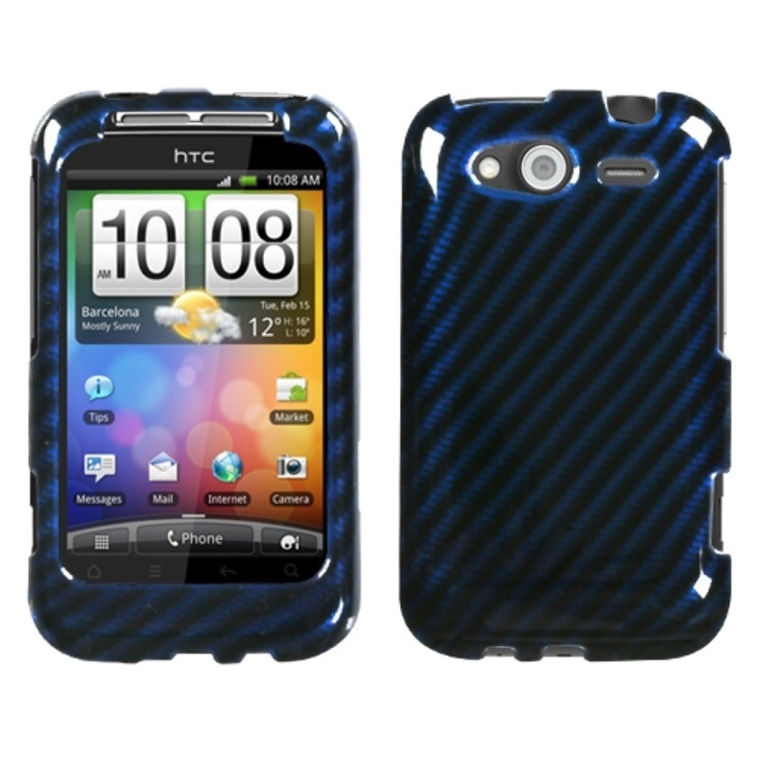 Insten Racing Fiber/Blue (2D Silver) Phone Case for HTC: Wildfire S (GSM), Wildfire S (CDMA)