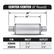 AP EXHAUST PRODUCTS XS0416 MUFFLER - XLERATOR STAINLESS STEEL, ROUND, 20IN OAL, 2.50IN