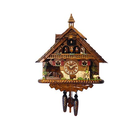 Cuckoo Clock 1 Day Chalet - Black Forest Chalet Style Musical 1 Day Cuckoo Clock with Wanderer and Bell Tower