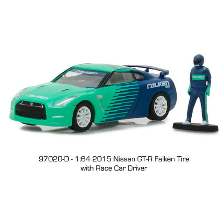 GREENLIGHT 1:64 THE HOBBY SHOP SERIES 2 - FALKEN 2015 NISSAN GT-R R35 WITH RACE CAR DRIVER 97020-D