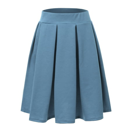 Doublju Women's Vintage Pleated Skirt A-line Midi Skirts DENIM L