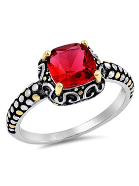 bc7cbd31b Product Image Sterling Silver Women's Fashion Gold-Tone Simulated Ruby Ring  Unique Band Size 6
