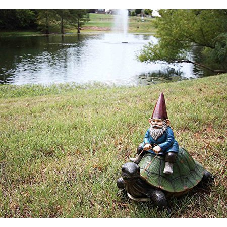 """Atlantic Collectibles Large 17.25"""" Long Whimsical Travelling Mr Gnome On Giant Turtle Ride Decorative Statue"""