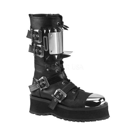 GRAVEDIGGER-250, 2 3/4 '' Platform Lace-Up Mid-Calf Boot - 3 Inch Platform Boots