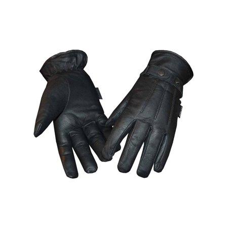 Hybrid Fleece Glove - Redline Women's Fleece Gator Lining Full-Finger Leather Gloves, Black GL-25