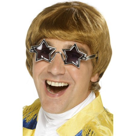 Smiffys Mens Retro 70s Glam Rock Wig Star Sunglasses Set - 70s Mens Wig