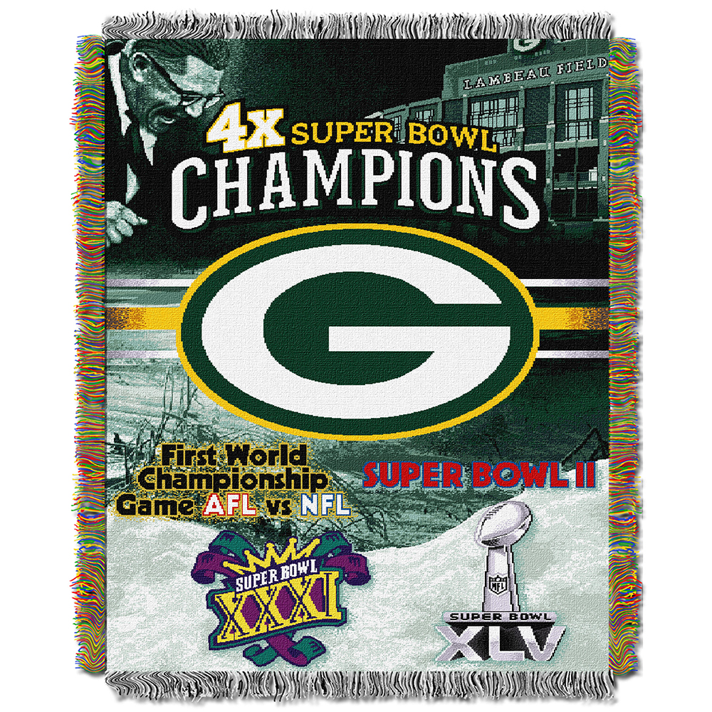 """Green Bay Packers NFL Super Bowl Commemorative Woven Tapestry Throw (48""""x60"""")"""