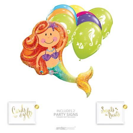 Andaz Press Enchanted Mermaid Balloon Bouquet Party Decoration Kit, Mermaid Party, Inflatable Foil Mylar, Latex Balloons - Latex Mermaid