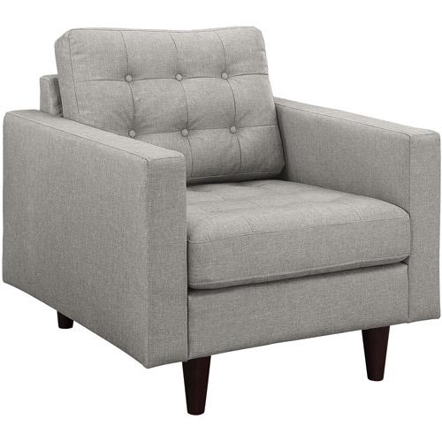 Modway Empress Upholstered Armchair, Light Grey