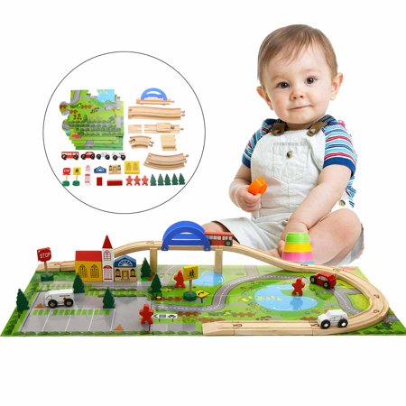 40pcs Wooden Track Overpass Blocks Building Kids Child Educational DIY Toy Gift For 3- 8 years old - Diy Wooden Blocks