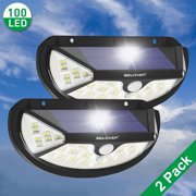 Waterproof Solar Light Outdoor Wall Pack Wall Lights 100 LED Motion Sensor Wireless Porch Wall Lamp [2 Pack] IClover