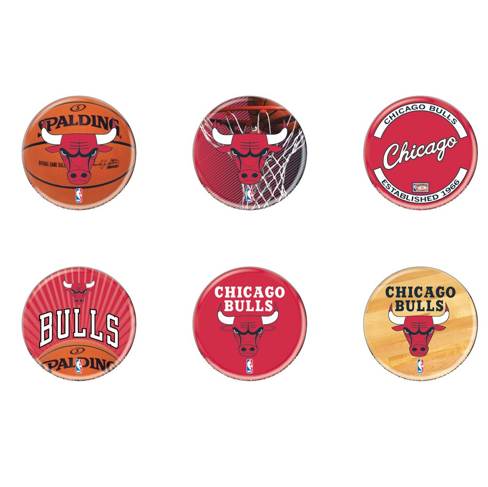 Chicago Bulls Official NBA 2 inch  Round Button Set 6-Pack by WinCraft