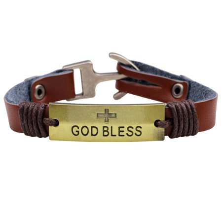 - God Bless Bracelet Christian Religious Leather Style Jesus God Bless Perfect Gift, J-426
