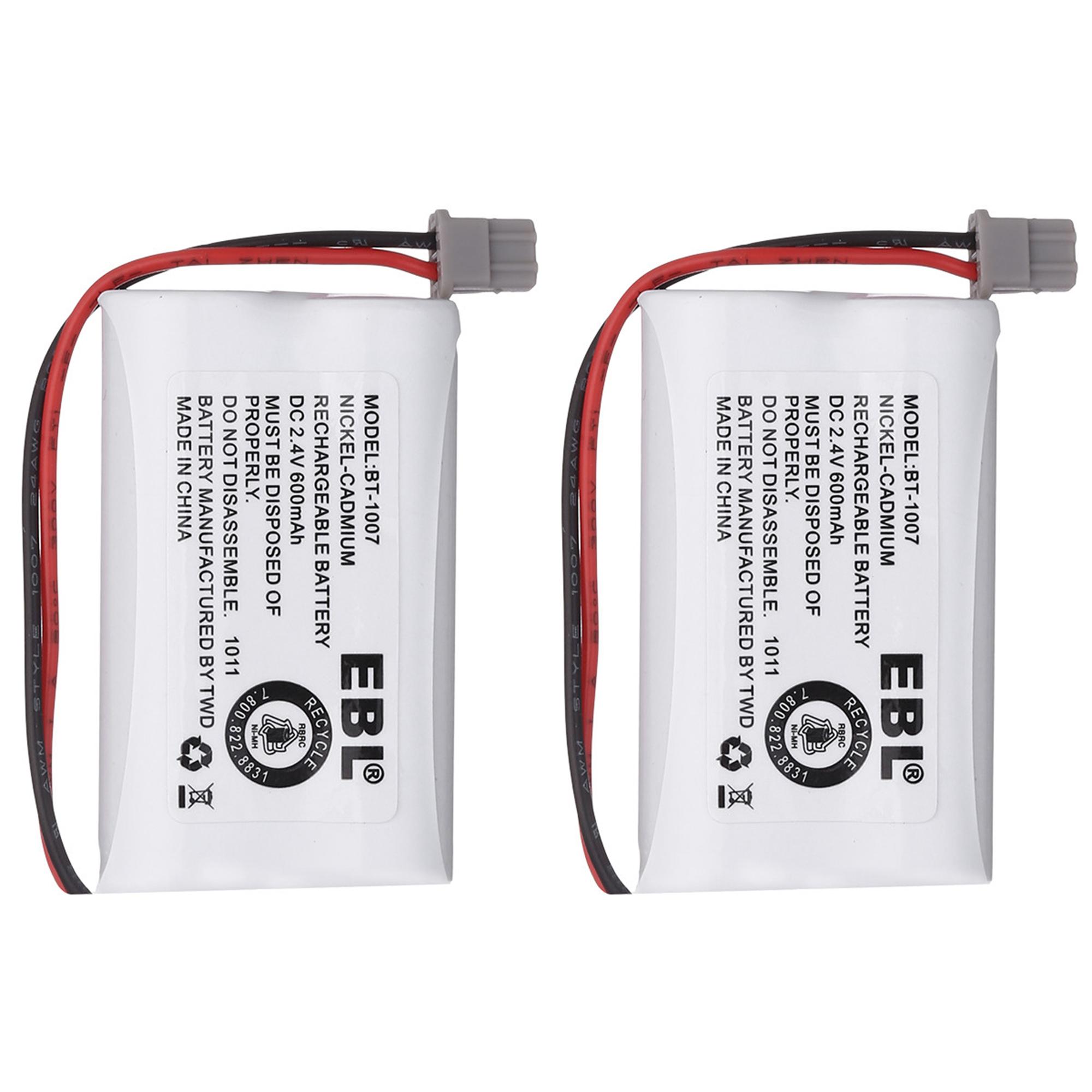 EBL 2-Pack 2.4v 600mAh Replacement Battery for Uniden BT1007, BT-1007, BT904, BT1015, BBTY0460001, BBTY0510001, BBTY0624001, DCX150, DECT1500 Panasonic HHR-P506, HHR-P506A