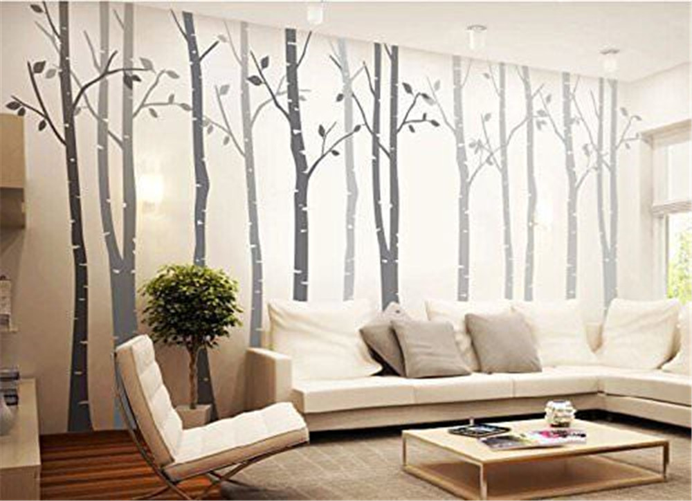 Popeven Gray Birch Tree Wall Decal Vinyl Removable Wall