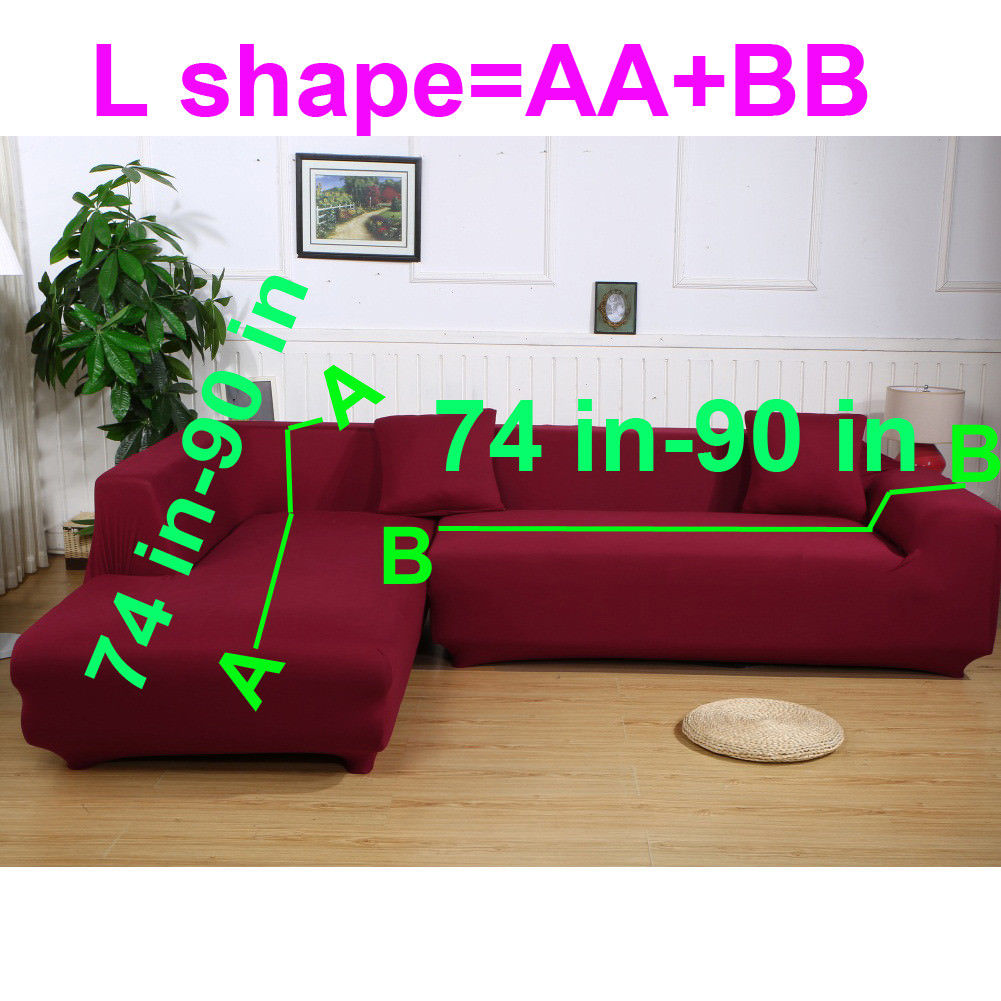 L Shape Sofa Cover, 2 Pcs 3+3 Seater Sofa Slipcover Couch Cover Stretch