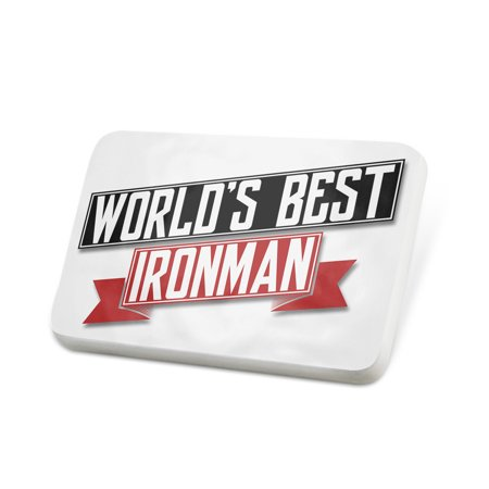 Porcelein Pin Worlds Best Ironman Lapel Badge –