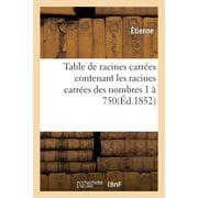 Table de Racines Carr�es Contenant Les Racines Carr�es Des Nombres 1 � 750