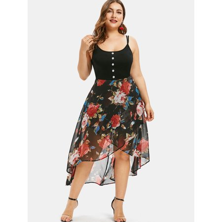 Women\'s Dress Plus Size Floral Overlay High Low Dress Split High Dress