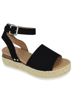 7e22934a51fb1 Product Image Soda Women Wedge Sandals Open Toe Ankle Strap Flatform  Espadrilles Trim Platform TOPIC-S Black