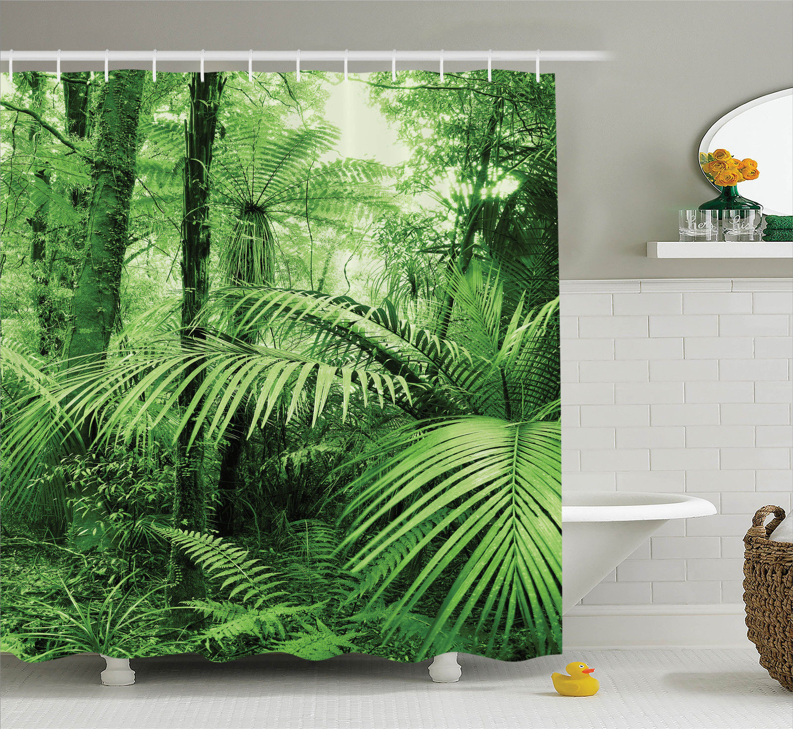 Rainforest Decorations Shower Curtain Set, Palm Trees And Exotic Plants In  Tropical Jungle Wild Nature
