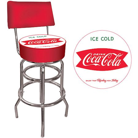 "Trademark Vintage Coca-Cola Coke Ice Cold Design 40"" Padded Bar Stool with Back, Chrome"