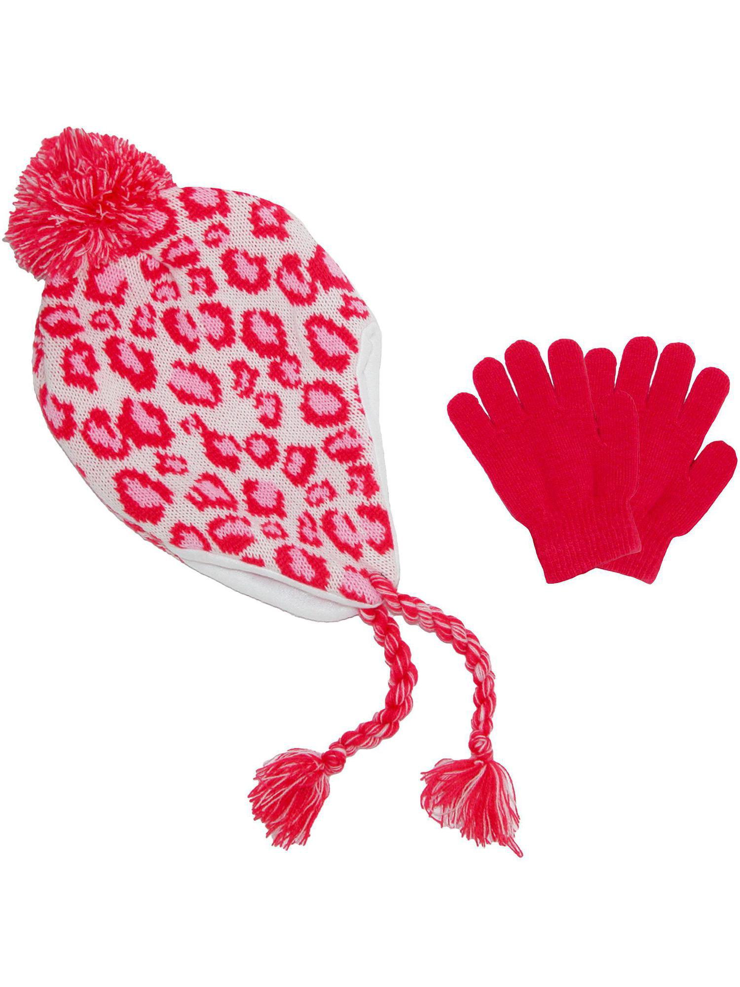 Girls' & Teens' Fleece Lined Animal Print Hat and Glove Set