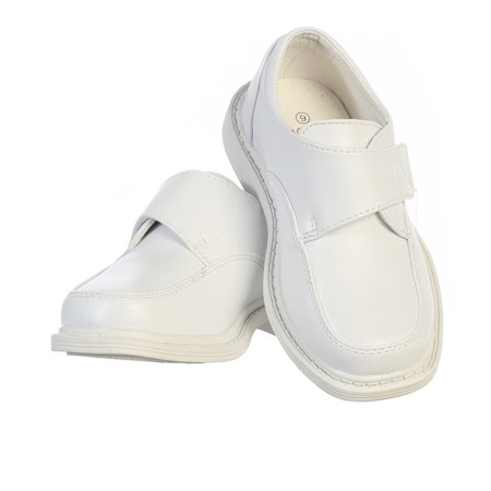 Special Ocassion Shoes (Toddler Boys White Velcro Matte Special Occasion Dress Shoes)