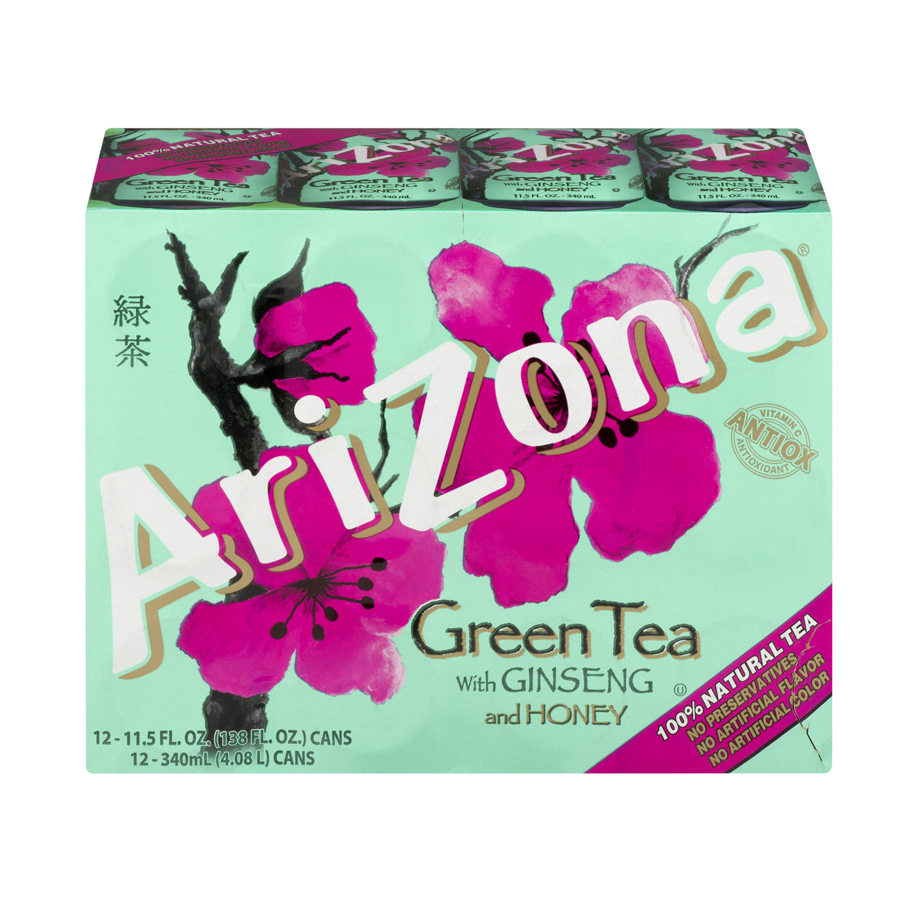 Arizona Green Tea With Ginseng And Honey, 11.5 Fl Oz, 12 Count