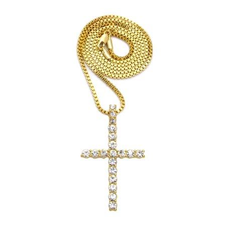"Stone Stud Single Row Slim Cross Pendant w/ 2mm 24"" Box Chain Necklace, Gold-Tone - image 2 de 2"