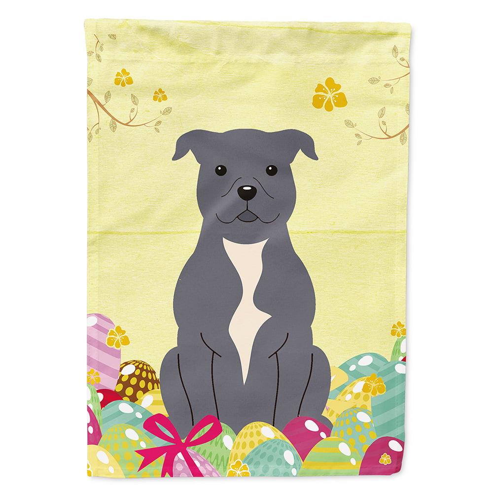 Easter Eggs Staffordshire Bull Terrier Blue Garden Flag