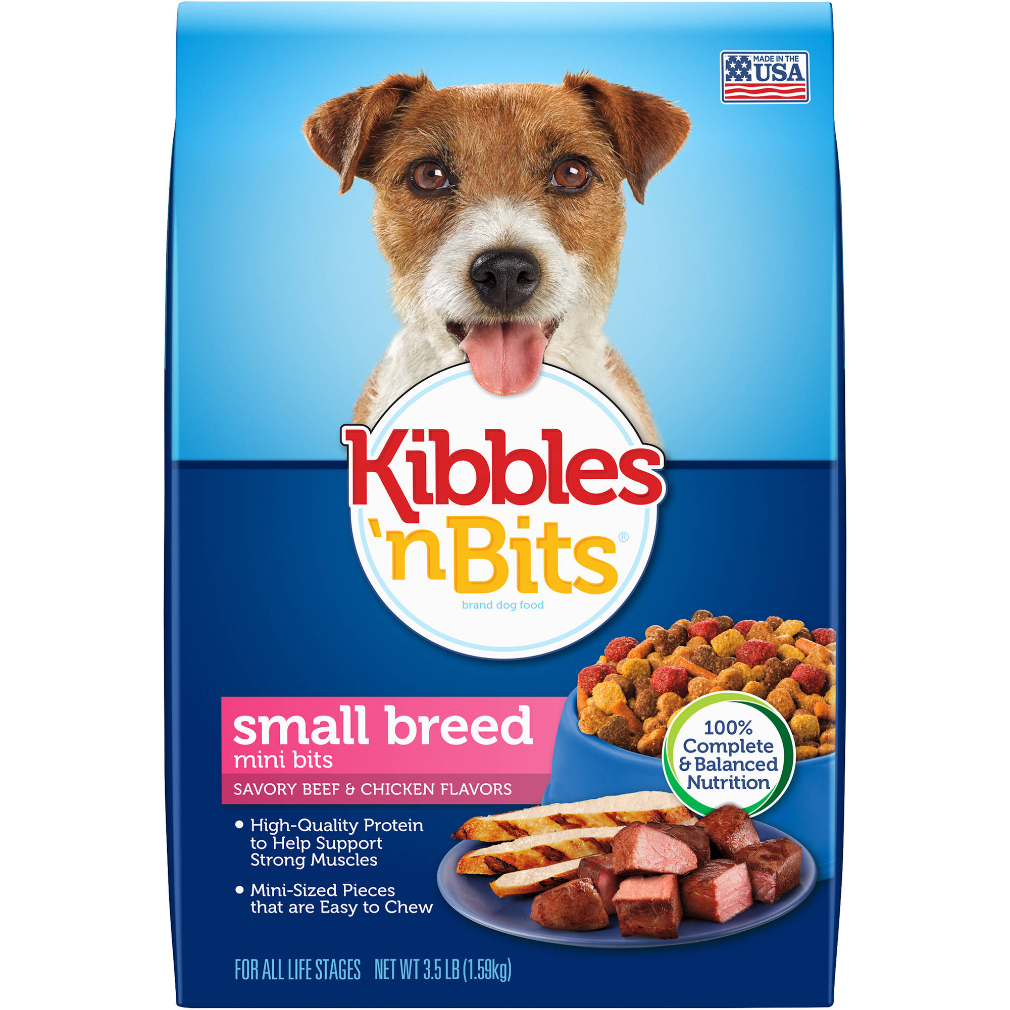 Kibbles 'n Bits Small Breed Mini Bits Savory Beef & Chicken Flavor Dry Dog Food, 3.5-Pound
