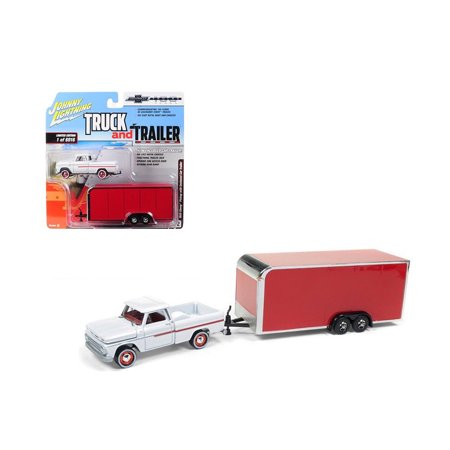 JOHNNY LIGHTNING 1:64 TRUCK AND TRAILER - 1965 CHEVROLET STEPSIDE WITH ENCLOSED TRAILER (WHITE, RED) JLSP020