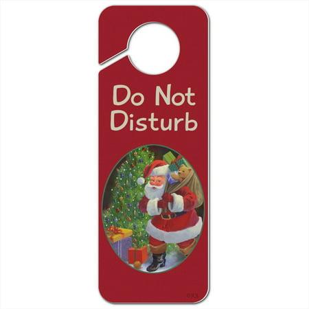 Christmas Holiday Santa Bag of Toys Tree Do Not Disturb Plastic Door Knob Hanger Sign (Door Knob Hanger Cat Toy)