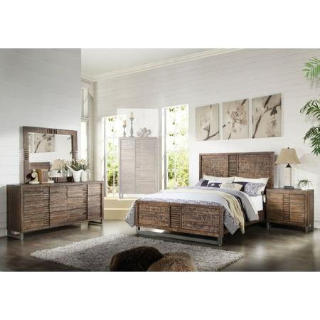 1perfectchoice Adria 4pcs Recllaimed Oak Cal King Platform Bedroom Set